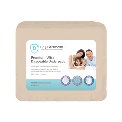 "Dry Defender Premium Ultra-Absorbent Disposable Underpads - Chux – 36"" x 36"""