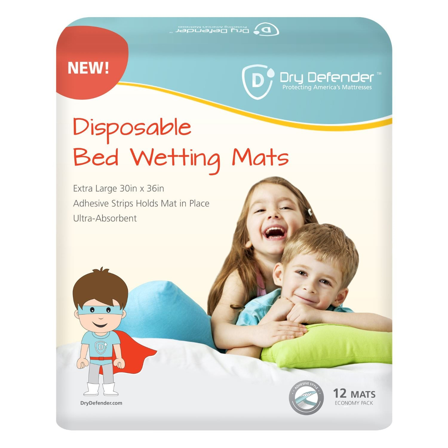 Bedding-Dry Defender Disposable Bedwetting Mats - Pack of 12 - Extra Large