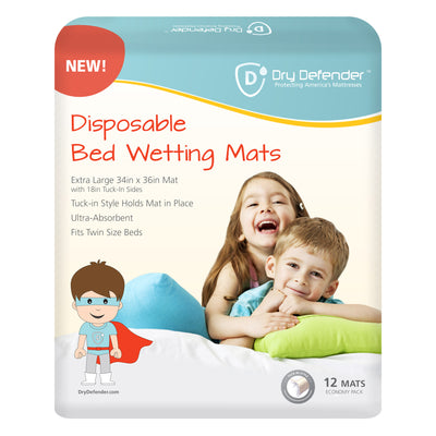 Dry Defender Disposable Bedwetting Mats - Pack of 12 - Extra Large