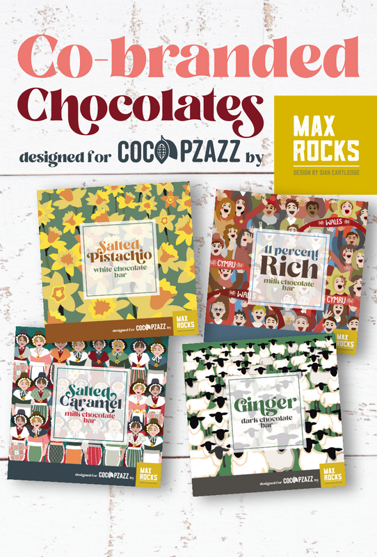Co-branded chocolates designed for coco pizazz by max rocks
