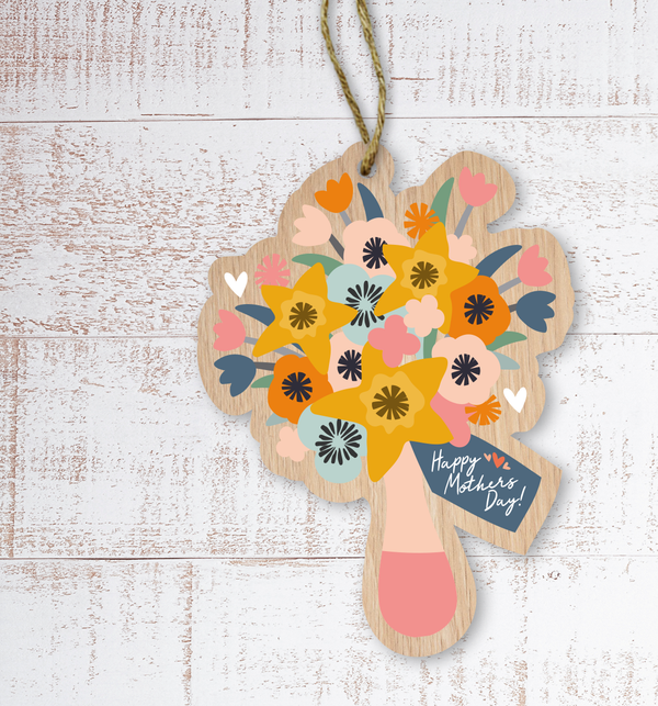 Happy Mother's Day Painted Wooden Gift Decoration