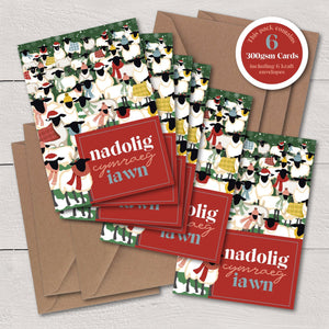 Nadolig Cymraeg Iawn Sheep / A Very Welsh Christmas - A6 Luxury Card Pack - Max Rocks