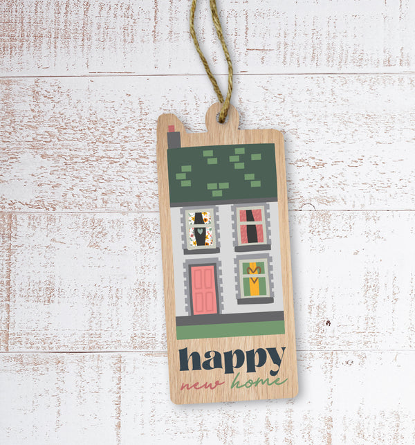 Happy new home Painted Wooden Gift Decoration