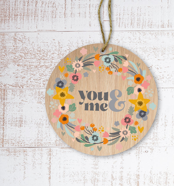 You & me Painted Wooden Gift Decoration