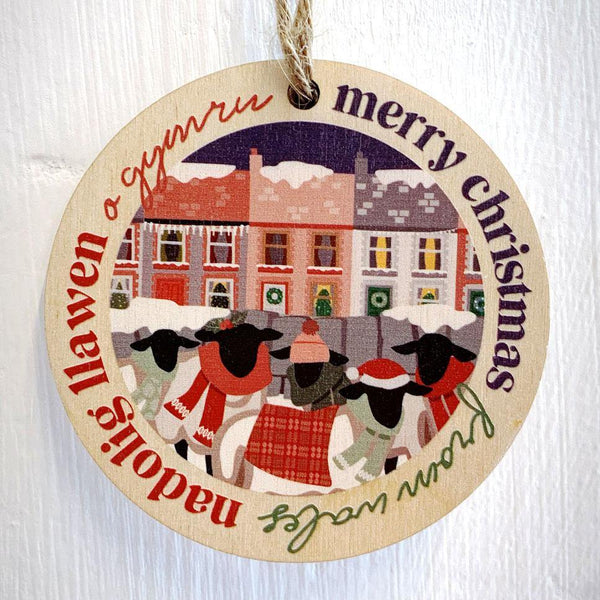 Nadolig Llawen o Gymru / Merry Christmas from Wales - Wooden Gift Decoration - Max Rocks