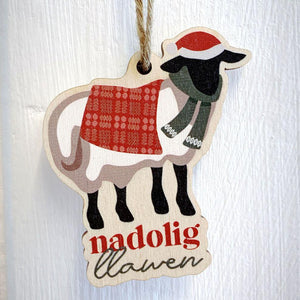 Nadolig Llawen / Merry Christmas  - Wooden Gift Decoration