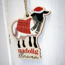 Load image into Gallery viewer, Nadolig Llawen / Merry Christmas  - Wooden Gift Decoration