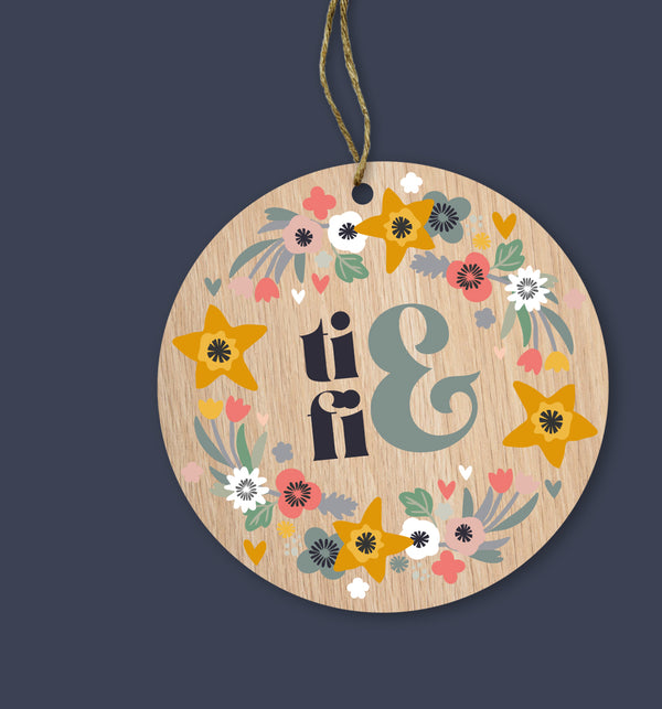 Ti & Fi (You & Me) Painted Wooden Gift Decoration