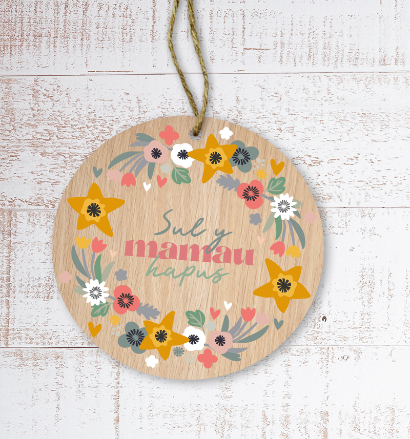 Sul y Mamau hapus (Happy Mother's Day) Painted Wooden Gift Decoration