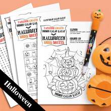 Load image into Gallery viewer, FREE Downloadable Halloween Work Sheets / Taflenni Gwaith Noson Calan Gaeaf