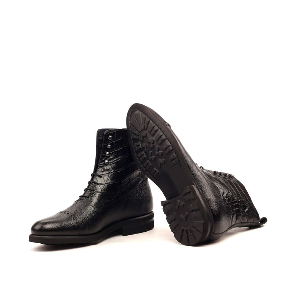 Balmoral - Painted Grain Peddle Black - Croco Black-Albert Couture