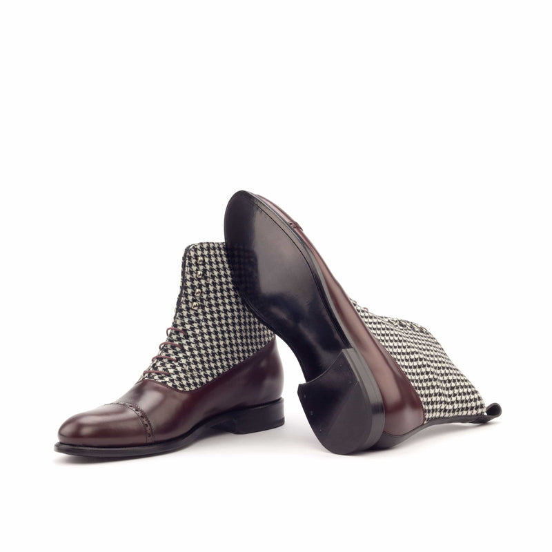 Balmoral - Polished Brown - Burgundy - Black Houndstooth-Albert Couture