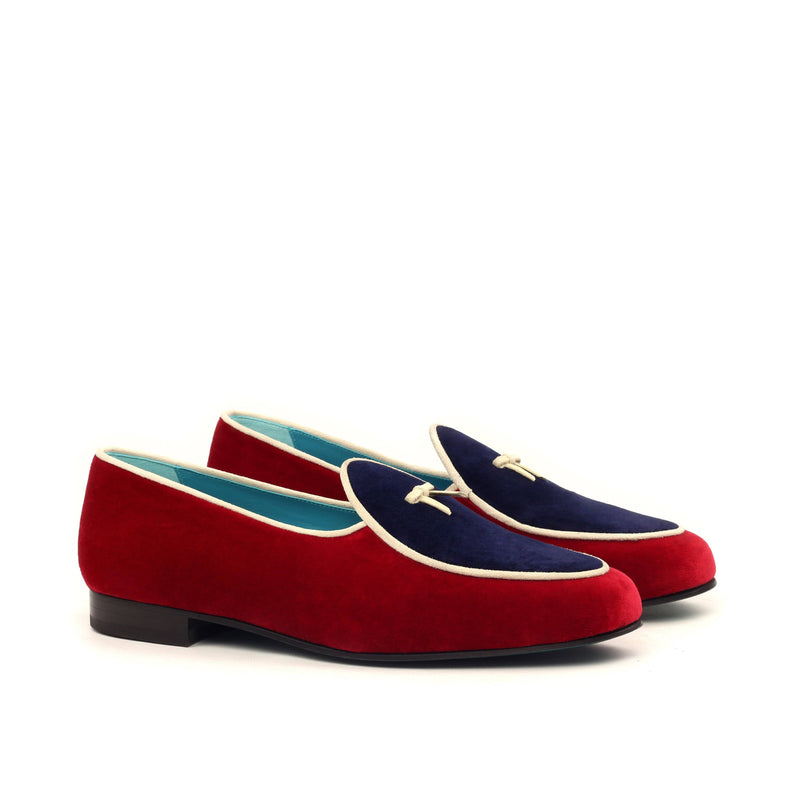 Slippers - Red and Navy Velvet Ivory Suede-Albert Couture