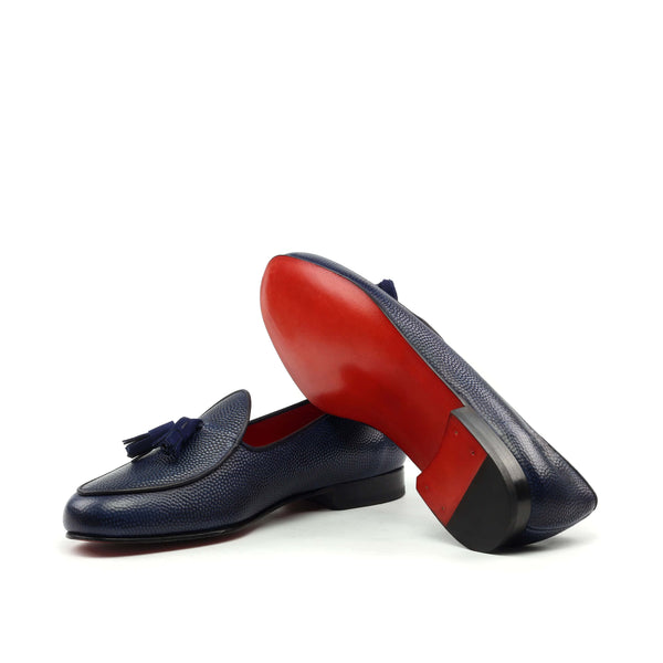 Slippers - Navy Pebble Grain-Albert Couture