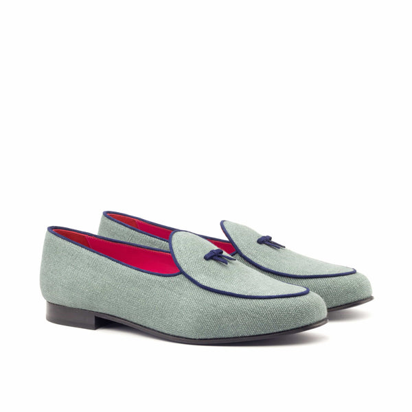 Slippers - Khaki Linen Navy Suede-Albert Couture