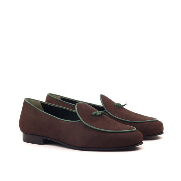 Slippers - Suede Brown and Forest-Albert Couture