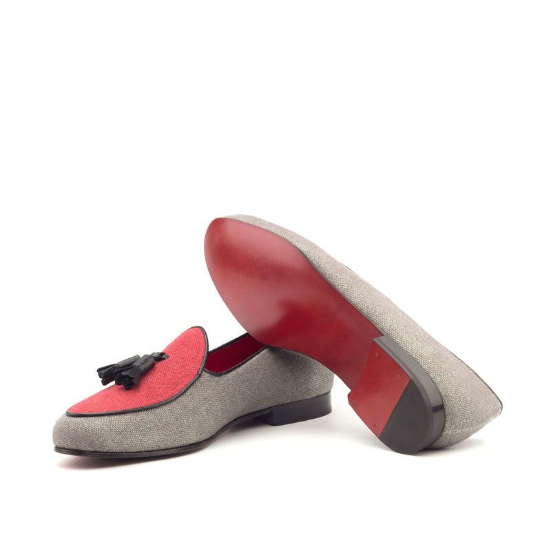 Slippers - Linen Grey and Red Black Leather-Albert Couture