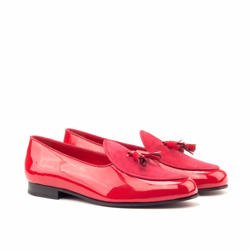 Slippers - Patent Red Suede Red-Albert Couture
