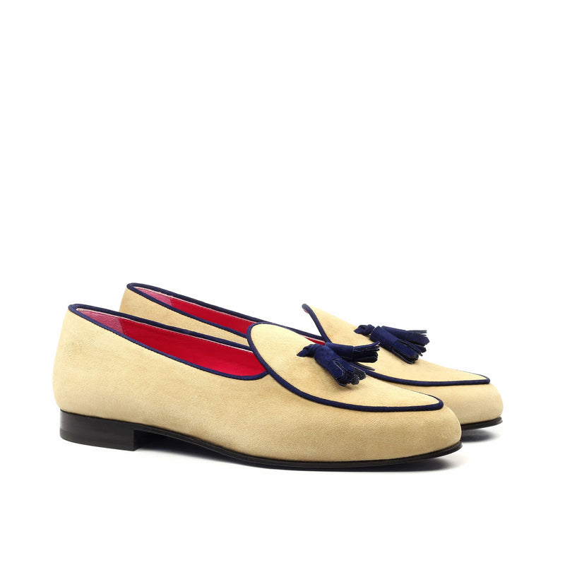 Slippers - Beige and Navy Kid Suede-Albert Couture