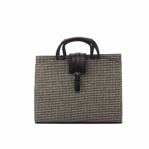Brief Case - Houndstooth - Painted Calf Black