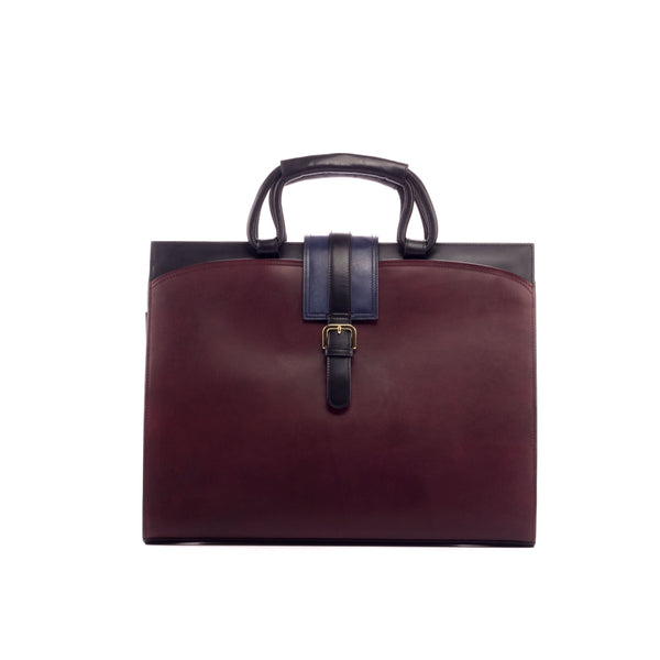 Briefcase -Painted Calf  Burgundy with Navy