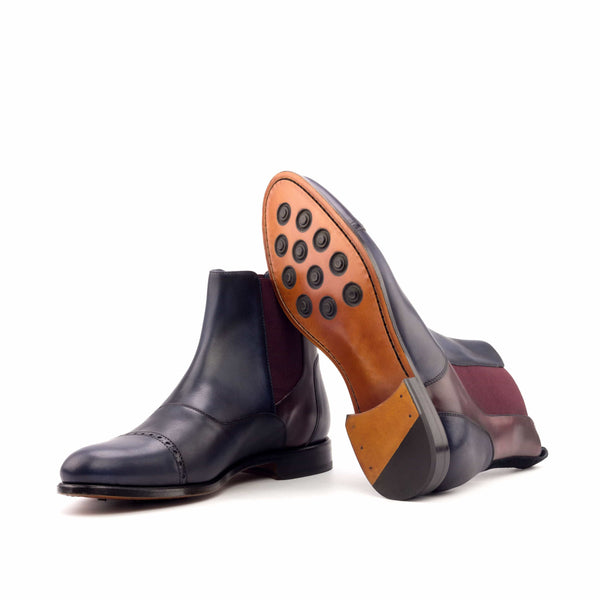 Chelsea Boots - Painted Calf Navy and Burgundy-Albert Couture