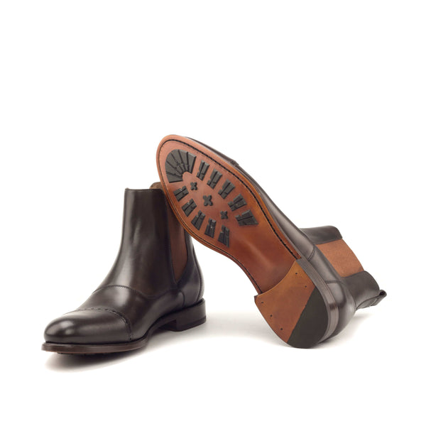Chelsea Boots - Painted Calf Dark Brown Elastic Cognac-Albert Couture