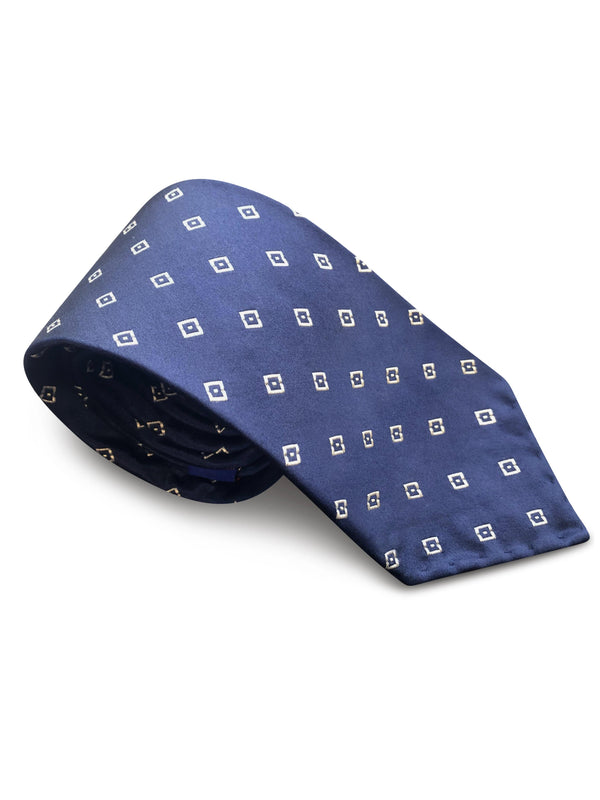 Tie - Navy Blue White Diamonds