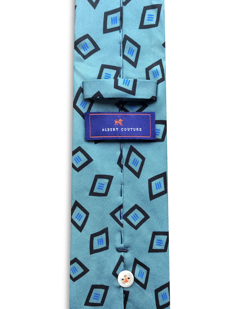 Tie - Dark Mint Diamond Navy