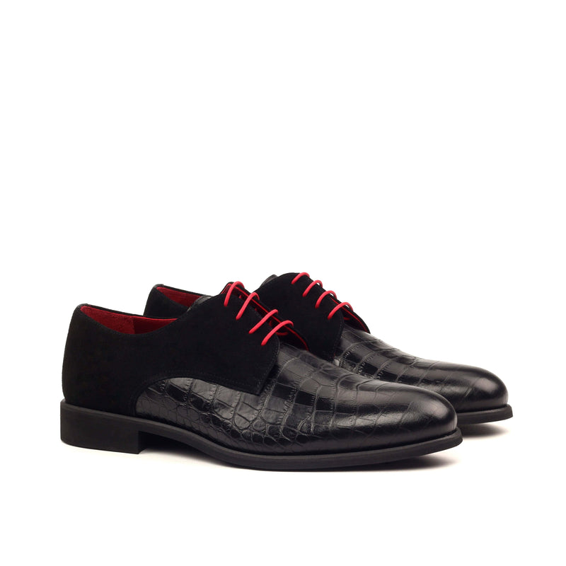 Derby - Croco Black Kid Suede Black-Albert Couture