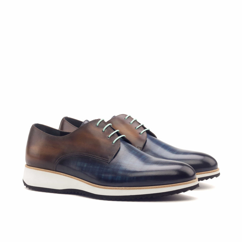 Derby - Patina Heavy Denim and Cognac-Albert Couture