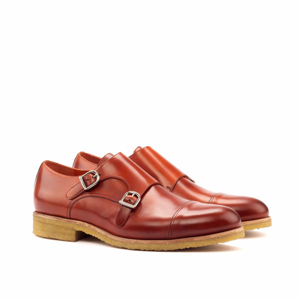Double Monk - Polished Calf Cognac-Albert Couture
