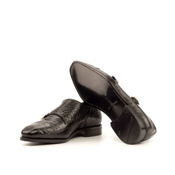Double Monk - Alligator Black Skin Dress Shoes