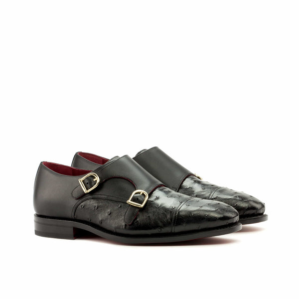 Double Monk - Ostrich Black Skin Dress Shoes.