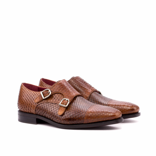 Double Monk - Python Brown Skin Dress Shoes