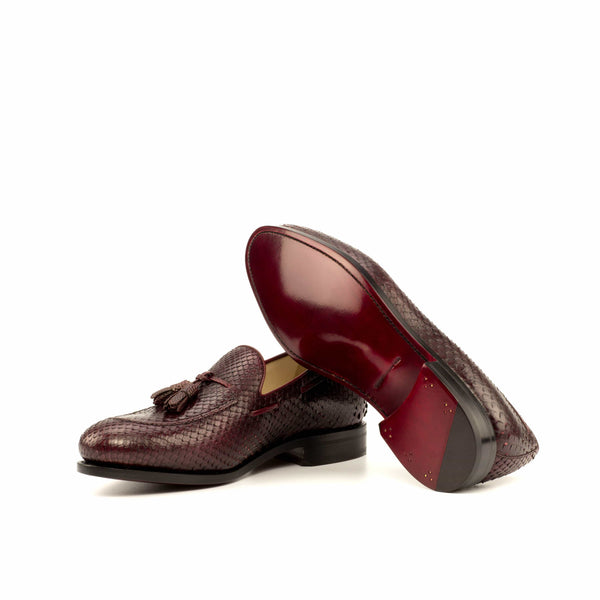 Milano Loafer - Python Skin Burgundy with Tassels
