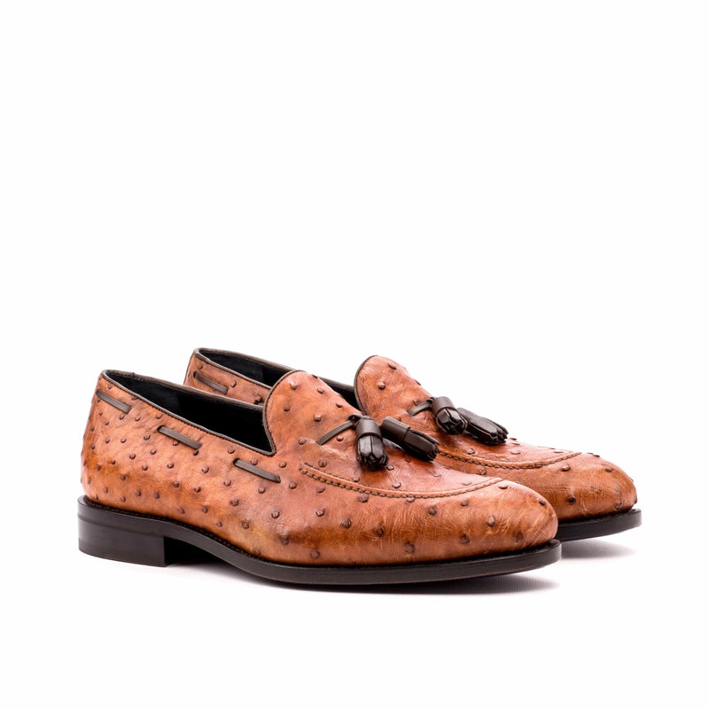 Milano Loafer - Ostrich Skin Brown with Tassels