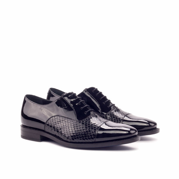 Oxford - Python Black Skin and Patent Black Leather Dress Shoes
