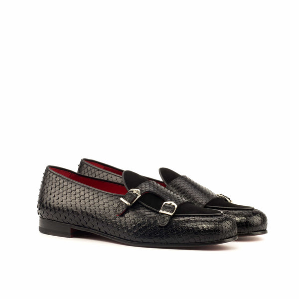Panama Slippers - Python Black Skin and Black Suede Top