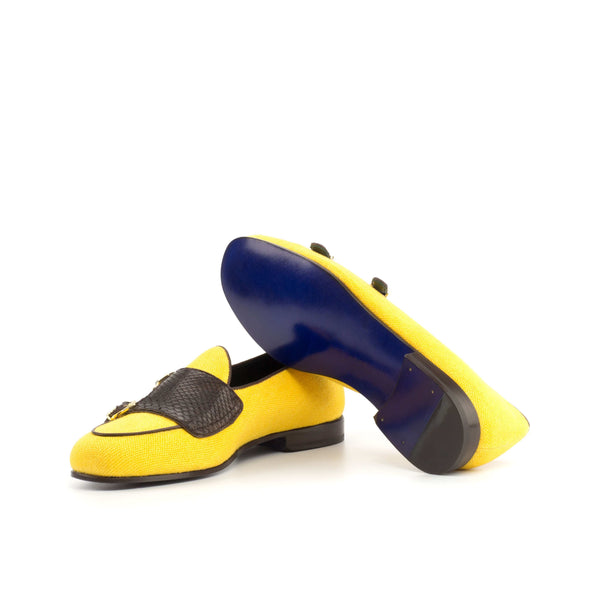 Panama Slippers -  Yellow Linen and Ostrich Black Skin