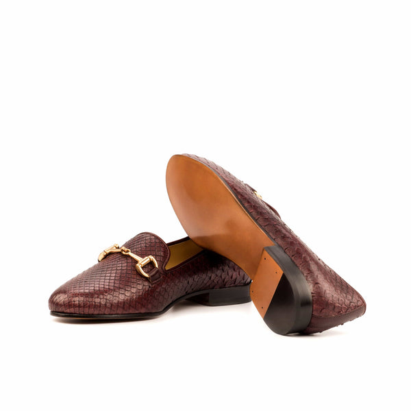 Exotic Women Slippers - Burgundy Python - Painted Calf Burgundy
