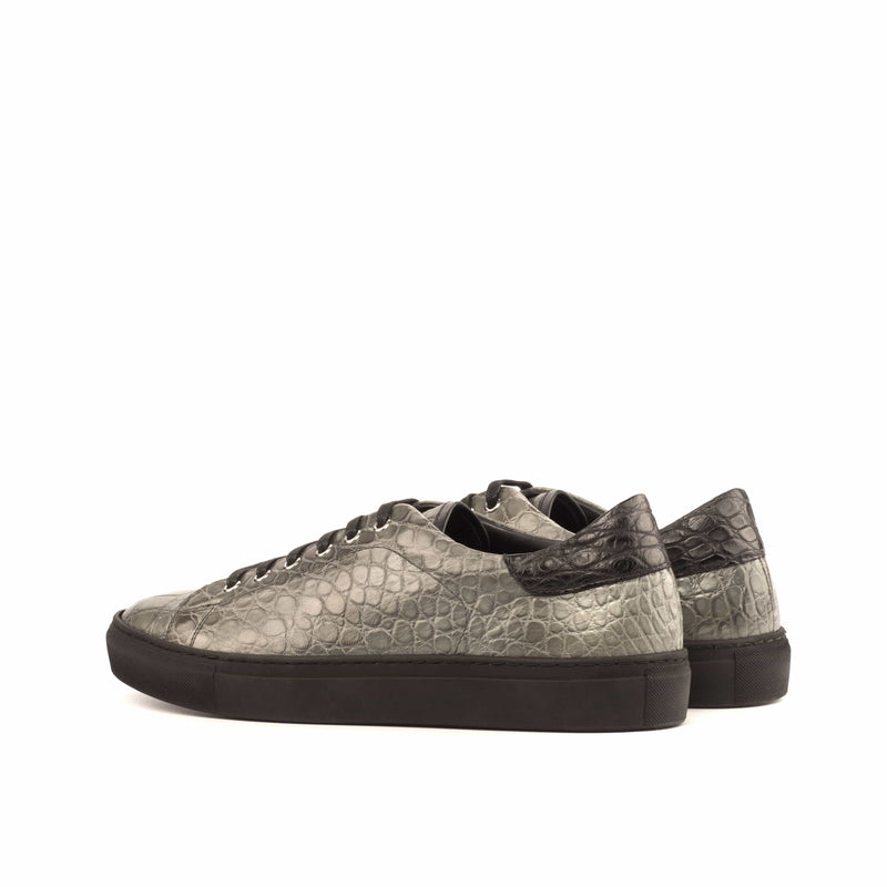 Trainer Sneaker - Grey Alligator with Black Sole