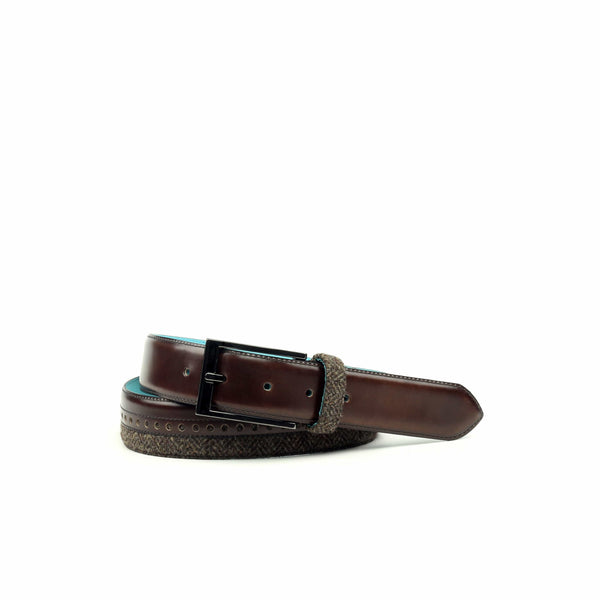 Belt - Herringbone Brown Florantic Med Brown-Albert Couture