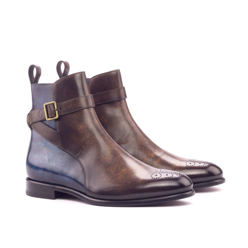 Jodhpur Boots - Patina Heavy Brown and denim-Albert Couture