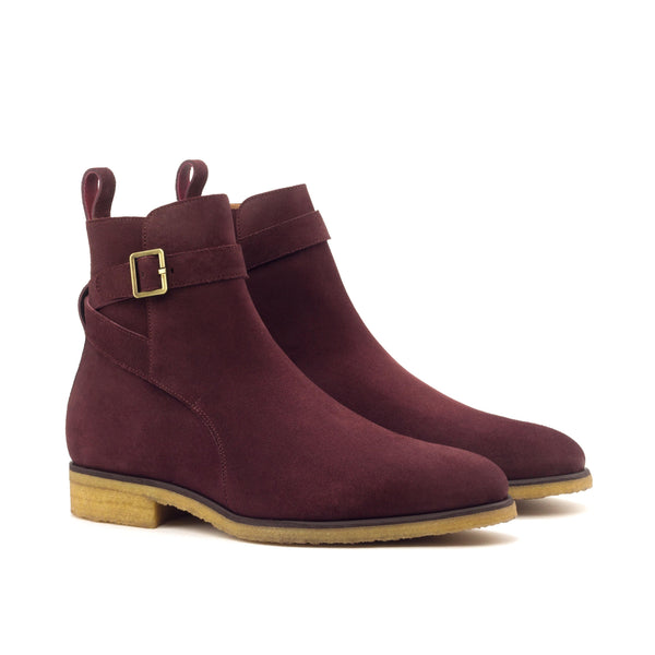 Jodhpur Boots - Lux Suede Burgundy Crepe Sole-Albert Couture