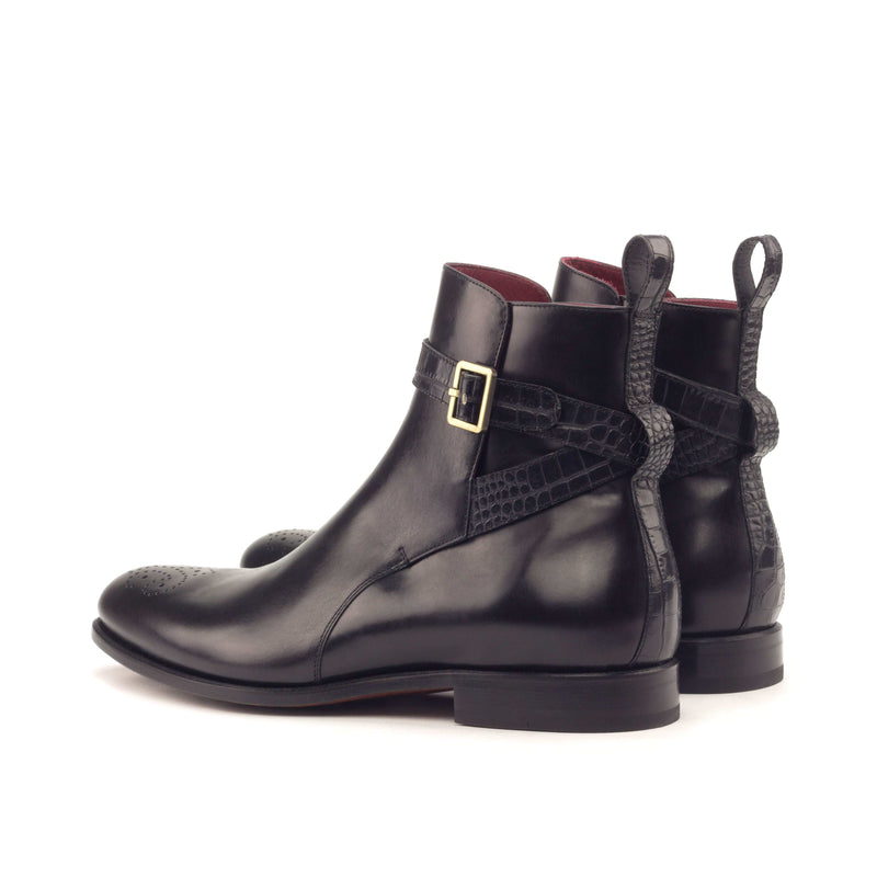 Jodhpur Boots - Polished Calf Black Faux Croco Black-Albert Couture