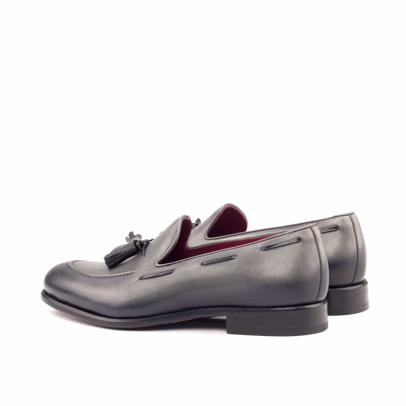 Loafer - Light burnishing Painted Calf Grey Pebble Grain Black-Albert Couture