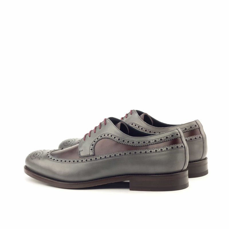 Longwing Butcher - Polished Calf Grey and Burgundy-Albert Couture