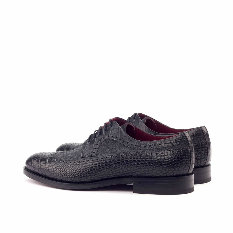 Longwing Butcher - Faux Croco Black Flannel Dark Grey-Albert Couture