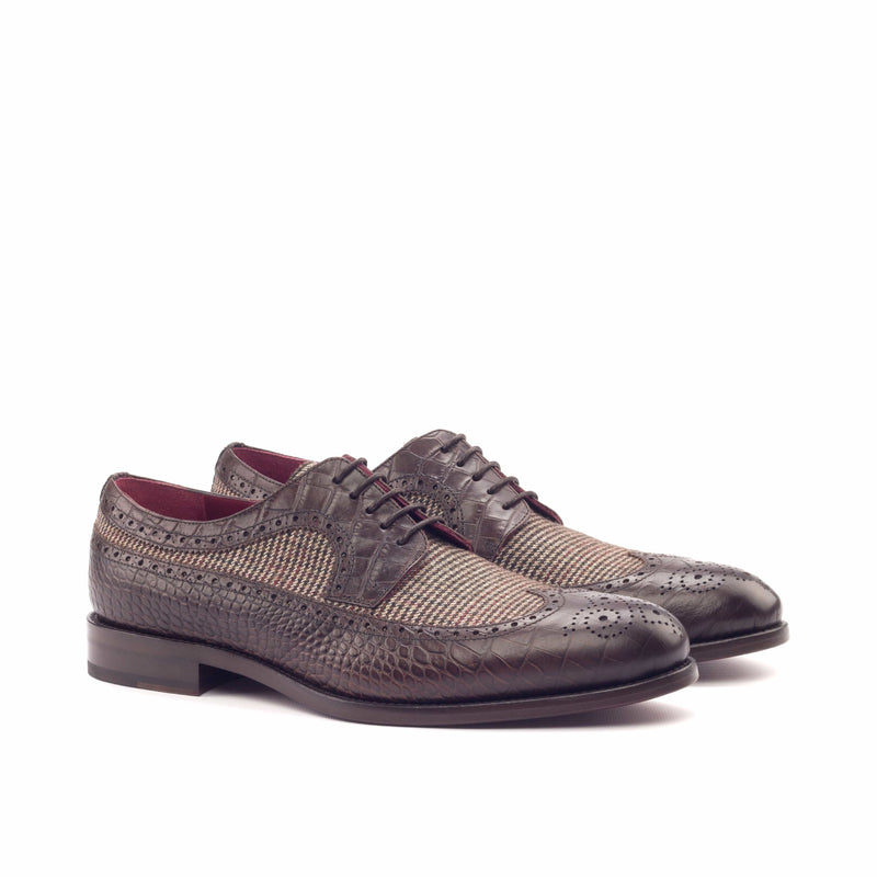Longwing Butcher - Faux Croco Brown and Wool Small Tweed Brown-Albert Couture